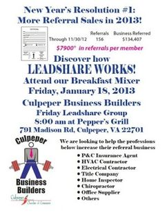 EVERYBODY!! Come on out to the Friday LeadShare Breakfast Mixer, find out how LeadShare can boost YOUR business!!!