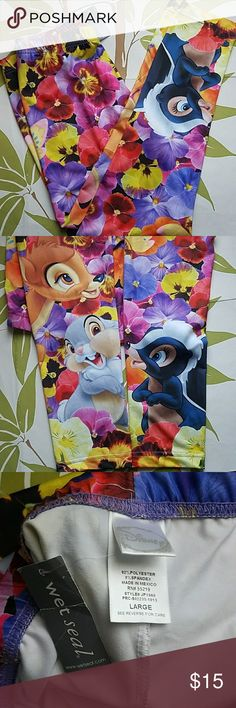 "Disney Bambi Leggins Juniors Large New with tags- Disney Wet Seal Bambi leggings- Juniors Size Large- vibrant colors- material is stretch. 92% polyester and 8% spandex- any questions please feel free to ask.  Thank you for visiting my Posh closet-  Measurements( laying flat )  Waist: 13.5"" - inseam: 26 1/4"" Disney Pants Leggings"