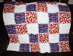 Made w/Chicago cubs material baby rag quilt #Handmade