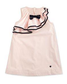 Z1MDL Armani Junior Sleeveless Ruffle-Trim Shift Dress, Orchid, Size 2-8