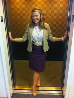Great business style! I'd like a purple pencil skirt but I have to buy a top that will go with it at the same time.   #shopforit