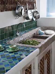 Rustic and chic in Portugal - kitchen with tiled work top