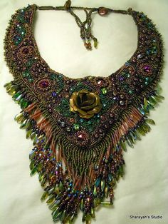 ROSE GARDEN  Bead embroidered filigree necklace by 4uidzne on Etsy, $850.00