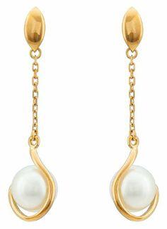 Boucle d'oreille or jaune perle de culture