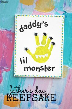 Crafts for Dad Daddy's Lil Monster Handprint Keepsake Darice is part of Baby crafts For Dad - Crafts for dad that are personalized with your child's own handprint will make for a very special keepsake Transform the handprint into a silly monster! Kids Fathers Day Crafts, Fathers Day Art, Dad Crafts, Daycare Crafts, Toddler Crafts, Preschool Crafts, Fathers Day Gifts, Crafts For Babies, Felt Crafts