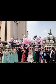 Pink silver balloons