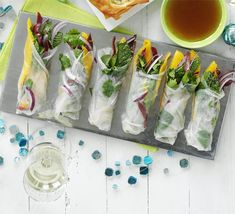 Vietnamese Spring rolls.... so many flavour combinations to be had. Try to keep the dipping sauce healthy and light by using lime juice, fish sauce and palm sugar with a hint of ground chilli. I personally love to fill them with chicken, rice noodles, coriander, mint, bean sprouts and cucumber mmm mmm.....