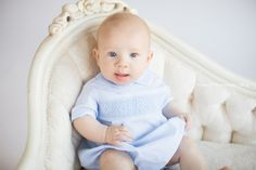 Handsome baby boy! His blue eyes went perfectly with background! indoor photo sessions are always fun!