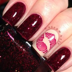 Best Amazing Valentine's Day Nails 2018 - Nails 2018 it's regarding now of the year once all females, taken further as single, begin to arrange out their ideal Valentine's Day.Amazing Valentine's Day Nails 2018 Kiss Nails, Get Nails, Love Nails, Pretty Nails, Belle Nails, Nails After Acrylics, Acrylic Nails, Swatch, Valentine's Day Nail Designs