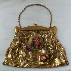 Gold Mesh Vintage Clutch, Floral Steampunk Purse, Haute Couture, OOAK, Fine Art Accessory, La marelle Couture