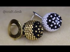 Beaded Ball / Peyote Beaded Earrings - YouTube Crochet Beaded Bracelets, Beaded Bracelet Patterns, Bead Patterns, Crochet Ball, Bead Crochet Rope, Beaded Jewelry Designs, Bead Jewellery, Seed Bead Earrings, Beaded Earrings