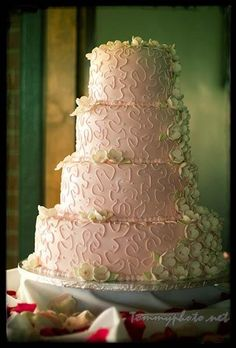 Wedding Cake with green flowers