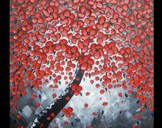 60 x 60 cm pintura acrílica abstracta pintura moderna estructurada arte árbol Flores Flores Muro original arte Grau Schwarz rojo por Fabio