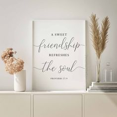 A sweet friendship refreshes the soul,Friendship quotes,Bible verse printable,Proverbs 27:9,Christian wall art,Best friend gift,Nursery art by PrintableLoveStory on Etsy Printable Bible Verses, Printable Wall Art, Printable Quotes, Pink Wall Art, Wall Art Sets, Proverbs 27, Rose Gold Decor, Simple Wall Art, Or Mat