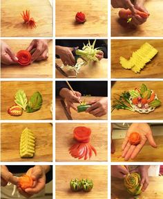 Carving fruits and vegetables - creative ideas and advice for everyone - new decoration ideas - - Fruit Carving Tools, Fruit And Vegetable Carving, Food Carving, Cantaloupe And Melon, Watermelon Fruit, Colorful Vegetables, Fruits And Vegetables, Veggies, Radish Flowers