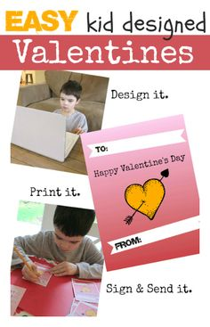 EASY make at home kid designed Valentines . #kindergarten { Get your kids writing without overwhelming them}