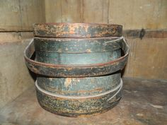 PRIMITIVE ANTIQUE BLUE/GREEN FIRKIN BUCKET WITH LID ORIGINAL PAINT BEAUTIFUL #Americana