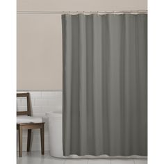 Available in white, putty or grey, this innovative shower curtain liner offers a magnetic hem to keep the material off your skin in the shower. It is crafted of 100 percent polyester and conveniently machine washable.