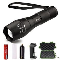 LED Tactical FlashlightAkaho 900 Lumen XML T6 Portable Outdoor Water Resistant Torch with Adjustable Focus and 5 Light ModesRechargeable 18650 Lithium Ion Battery and Charger >>> More info could be found at the image url.(This is an Amazon affiliate link)