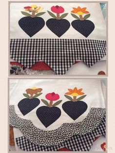 Applique Designs, Tea Towels, Diy And Crafts, Patches, Quilts, Sewing, Jute Crafts, Handmade Crafts, Felt Play Food
