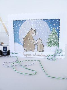 Bear Hugs - Mama Elephant.  Scribbly Christmas - Tim Holtz.  Card by Nicky Noo Cards https://www.facebook.com/nickynoocards/