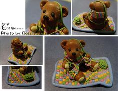 Teddy Bear with yarn- fimo clay- Manda Theart