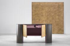MOSAICO metal cladding cabinet design Nikita Bettoni #mosaic #brass #handmade #lacqueredwood #metal