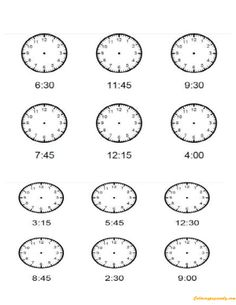 Free printable time Worksheets, Draw the hands on the clock, Missing hands Teaching Time, Teaching Math, Teaching Ideas, Math Sheets, Clock For Kids, Math Measurement, Elapsed Time, Second Grade Math, Grade 2