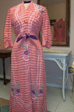 Chenille Glamour Girl Bath Robe / Item 22 / Women Retro Vintage Inspired Custom Handmade To Order. $155.00, via Etsy.