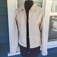 """TOMMY HILFIGER Khaki Beige Jacket TOMMY HILFIGER Jacket.  Full zip front.   Front hand pockets  Corduroy collar and zip closing cuffs.  Lightweight.  Fully lined.  Shoulder width 16"""".  Length 20-1/2"""".  Great condition. Tommy Hilfiger Jackets & Coats"""
