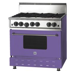 purple stove and oven