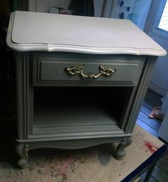 Red Tin Inn night stand upcycle...french provincial ...chalk paint...dump find rebirth bedside revival funky storage