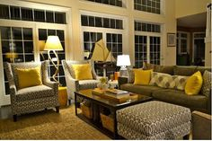 Navy Gray And Yellow Living Room Set