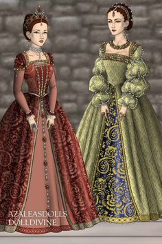 Elizabethan Finery by Badalice ~ The Tudors Historical Dress Up Elizabethan Dress, Medieval Dress, Tudor Dress Up, Tudor Costumes, Doll Divine, 18th Century Fashion, Dress Sketches, Fantasy Dress, Haute Couture Fashion