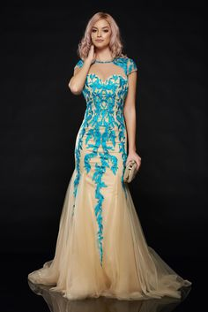 Sherri Hill 1927 Turquoise Dress, Sherri Hill dresses must be paid in advance by banking transfer, sequin embellished details, embroidery details, voile fabric, satin fabric texture