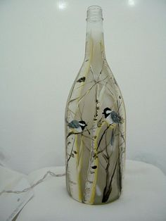 Wine Bottle Light-Recycled Glass-Chickadees and Birch trees-Night Light-Lamp