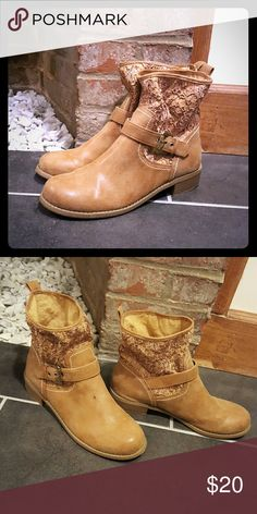 G by Guess Tan Lace Mid-Rise Boots Tan Faux Leather and Lace Mid-Rise Boots. Super cute, very sturdy, and comfortable shoes. G by Guess Shoes