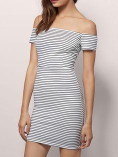 Black And White Boat Neck Striped Slim Dress -SheIn(abaday)