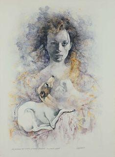Figura femminile con levriero, 1988, tecnica mista su carta