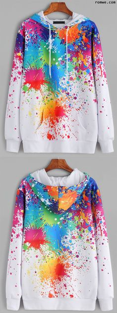 White Paint Splatter Print Drawstring Hooded Pocket Sweatshirt