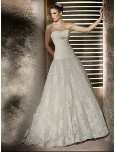 Lace Sweetheart Strapless Neckline A-Line Wedding Dress with Beaded Empire Trim from goodcheapweddingdress.com