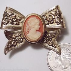 Vintage Goldtone Floral Embossed Bow w/Molded Cameo Pin