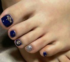 DarkBlue Toe Nail Art nailbook.jp