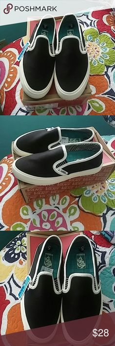 New woman slip on vans last$$$ This is a new pair a woman's slip on vans black and cream color in size 5 Vans Shoes
