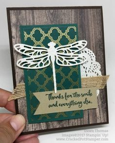 Stampin' Up! Dragonfly Dreams stamp set, Detailed Dragonfly Thinlits Dies, Foil Designer Acetate, Wood textures dsp, #crackedpotstamper #stampinup