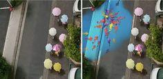 """"""" Lá Fora está #Chovendo / Chove #Chuva ✿ #Chove Sem Parar """" Coloridos Murais, que aparecem nas Ruas, só quando está chovendo """" * Grupi de #Design da Coréia do Sul criaram para combater os """" Dias Cinzentos"""" quando #Chove. #Show!!! #design #decor #Inovação #criatividade #BemBolado."""