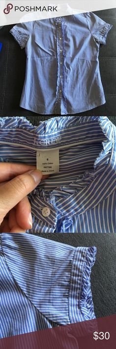 JCrew blue striped & ruffled short sleeve buttonup Worn in good condition. Thin striped feminine buttonup. Button fronts no longer work for my shape oops! Perfect for business casual to business formal under a suit! J. Crew Tops Button Down Shirts