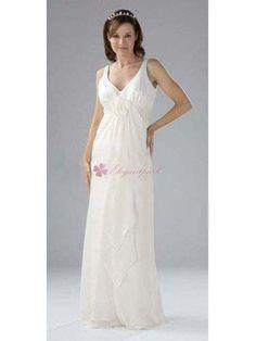 A-Line Apron Floor-length Straps V-Neck Chiffon Wedding Dress