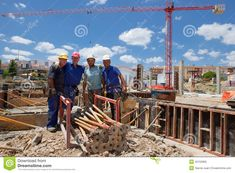 Photo about BADAJOZ, SPAIN - June portrait of unidentified smiling construction workers under the crane on-site work. Image of equipment, construction, workers - 42150965 Construction Worker, Spain, Editorial, Fair Grounds, Portrait, Travel, Image, Viajes, Headshot Photography