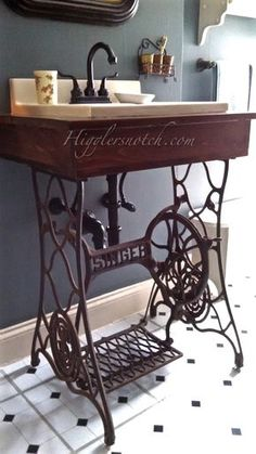 upcycling altes singer n hmaschinengestell als waschtisch bad pinterest waschtisch. Black Bedroom Furniture Sets. Home Design Ideas